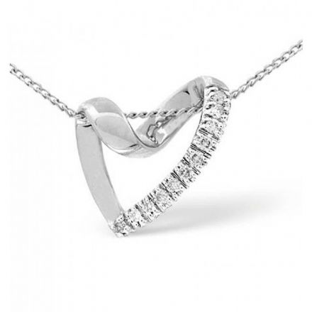 18K White Gold 0.10ct Diamond Pendant, P2395